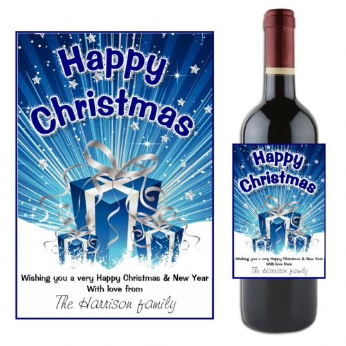 Personalised Happy Christmas Wine / Champagne Bottle Label N45